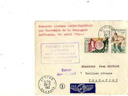 1er VOL =Première Liaison  Paris Francfort,, CARAVELLE,  Lufthansa - First Flight Covers