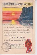 """Diplôme Du Cap Nord Avec 2 Tp De Norge ( 30-7-37 ) , Passager Sur Le Vapeur """" Léopoldville """" - Dampfer"""
