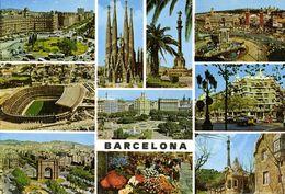 Spain, BARCELONA, Multiview With Estadio Nou Camp (1970s) Stadium Postcard - Fútbol