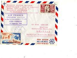 1er VOL =Première Liaison Aérienne  Paris Changaï ,Boeing 707, Air France - First Flight Covers