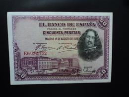 ESPAGNE : 50 PESETAS   15.8.1928    P 75b    SPL - [ 1] …-1931 : Eerste Biljeten (Banco De España)