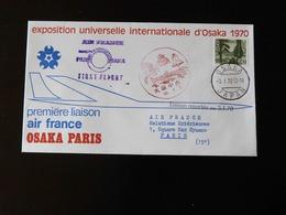 PREMIERE LIAISON  AIR FRANCE  OSAKA - PARIS  -  1970  - - Marcophilie (Lettres)
