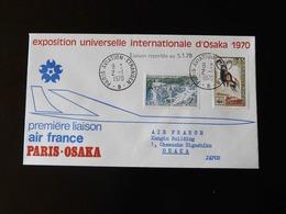 PREMIERE LIAISON  AIR FRANCE  PARIS - OSAKA    -  1970  - - Marcophilie (Lettres)