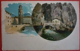 RIVA - LAGO DI GARDA , MULTIVIEW OLD LITHO POSTCARD - Trento