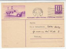 Automobil-Postbureau Illustrated Postal Stationery Postcard Travelled 1939 Zürich Pmk B190220 - Entiers Postaux