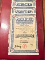 PATHÉ   CINÉMA   ANCIENS  ÉTABLISSEMENTS  PATHÉ   FRÈRES ------Lot  De  3  Actions De  100 Frs - Cinéma & Théatre
