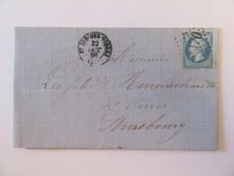 France - Timbre Napoléon III 20c YT N°22 Sur Lettre - St Dié Vers Strasbourg - Ob. GC 3570 + Bureau De Passe - Oct. 1866 - 1849-1876: Classic Period