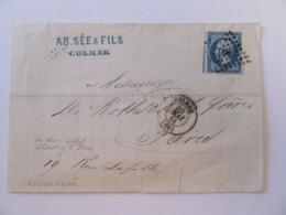 France - Famille De Rothschild - Timbre Napoléon III 20c YT N°14B Sur Lettre - Colmar Vers Paris - Ob. PC 908 - Mai 1861 - 1849-1876: Classic Period