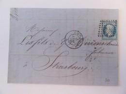 France - Timbre Napoléon III 20c YT N°22 Sur Lettre - Lyon Vers Strasbourg - Ob. Ambulant CfP - Janvier 1866 - 1849-1876: Classic Period