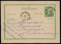 DUTCH INDIES. 1887. Soerabaja - Klaten - Kelandan - Semarang. 5c Dark Green Stat Card. VF. - Niederländisch-Indien