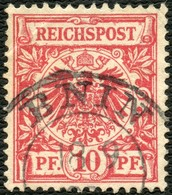 PREUSSEN 1896, NACHVERWENDETER STPL-K2 BNIN AUF DR 47, 10 Pf. MARKE MÄNGEL! - Preussen