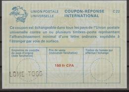 TOGO La22A  150fr CFA   International Reply Coupon Reponse Antwortschein IAS IRC O LOME TOGO - Togo (1960-...)