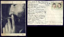 """CUBA - FIDEL CASTRO Smoking - """"EL CIGARRO"""" Postcard Circulated W. Stamps Chess Casablanca Lasker - Cartes Postales"""