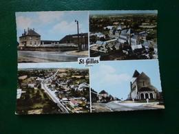 Saint Gilles Manche ) Les écoles Et La Mairie , Le Centre Vue Générale Le Centre Et L'église écrite En 1977 - France