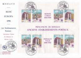 Monaco 1990 FDC Europa CEPT Souvenir Sheet (LAR5-45) - Europa-CEPT