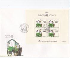 Acores 1988 FDC Europa CEPT Souvenir Sheet (LAR5-45) - Europa-CEPT
