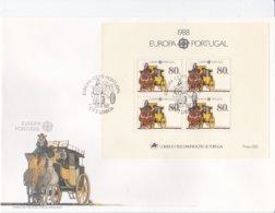 Portugal 1988 FDC Europa CEPT Souvenir Sheet (LAR5-45) - Europa-CEPT