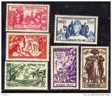 Guyane N° 143 / 48 X :Exposition Internationale De Paris La Série Des 6 Valeurs Trace De Charnière Sinon TB - Guyane Française (1886-1949)