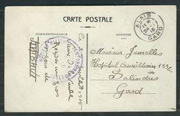 FRANCE 1915 CPA  Illustrée Hopital Complémentaire D' Alais - Marcophilie (Lettres)