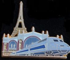 TGV - TRAIN  - LOCOMOTIVE GRISE  TOUR EIFFEL - PARIS - BALLARD - DORE A L'OR FIN - COMBS LA VILLE -    (21) - TGV