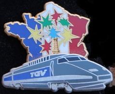 TGV - TRAIN  - LOCOMOTIVE GRISE  - CARTE DE FRANCE - 100 ANS TOUR EIFFEL-BALLARD - DORE A L'OR FIN-COMBS LA VILLE -(21) - TGV