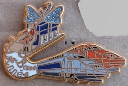 TGV - TRAIN - LOCOMOTIVES GRISE  ET ORANGE - BONNE ANNEE 1993 - DESSIN VIGNERON - PERE NOEL - BALLARD -     (21) - TGV