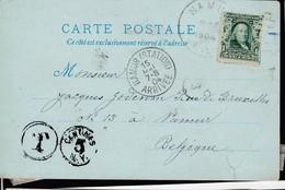 "1 Ct Des USA (.) NAMUR / WISCONSIN / Dat"" 29 Avril 1004 + Sc Du - May -> Sc NAMUR ( STATION) ARRIVEE / 15 Mai 05 Pat New - 1893-1907 Armoiries"