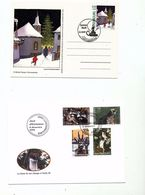 Luxembourg Christmas Card Animals Fauna Deer Raccoons Weasel Goshawk Day Of Issue Cancel 2003 04s - FDC