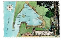"""Contour Géographique Illustré Boris Bytchkovsky """"Le Bassin D'Arcachon"""" Etoile Des Mers Avec Hippocampe - Circ 1962 - Landkarten"""