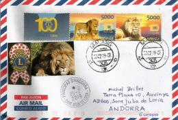 Centenaire Lions International En Indonésie, Belle Lettre Indonésie Adressée Andorra, Avec Timbre à Date Arrivée - Rotary, Lions Club