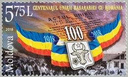 Moldawien Moldova 2018 Nr. 1069 Jahrestag Vereinigung Von Bessarabien Rumänien - Moldawien (Moldau)