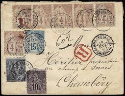 VIETNAM 1891 - Busta Raccomandata Con Bella Affrancatura Quadricolore Da Saigon 14/3/1891 A Chambery... - Francobolli
