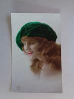 Alte Franzoesische Karte - Frau Mit Gruener Muetze - 1920-er - Other