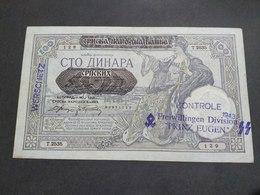 WERSCHETZ- SS DIVISION PRINZ EUGEN-BANKNOTE OVERPRINT 100 Dinara 1941. - [ 9] Duitse Bezette Gebieden
