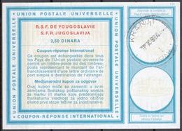 SLOVENIA / SLOVENIE / YUGOSLAVIA Type XIX 2,50 DINARA Intern. Reply Coupon Reponse Antwortschein IAS IRC O KRANJ 1974 - Slowenien