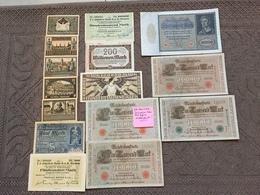 ALLEMAGNE: Bon Lot De 15 Billets De Banque. Date: 1910/ 1923. - Allemagne