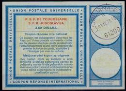 SLOVENIA / SLOVENIE / YUGOSLAVIA Type XX 3,60 DINARA Int. Reply Coupon Reponse IAS IRC Antwortschein O LJUBLJANA 3.12.73 - Slowenien