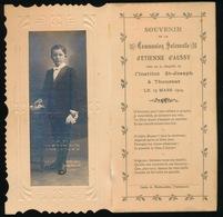 SOUVENIR DE COMMUNION SOLENNELE 1914  - 2 SCANS - 14 X 7.5 CM - Communion
