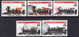 USA 1994 Railway Locomotives Set Of 5, Used, SG 2923/7 - Usati