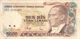 5000 Türk Lira Banknote Türkei 1970 - Türkei
