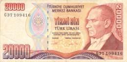 20.000 Türk Lira Banknote Türkei 1970 - Türkei