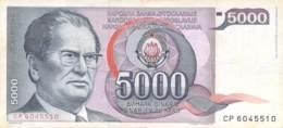 5000 Dinar Banknote Jugoslawien 19?? - Jugoslawien