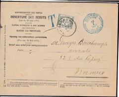 Envellope OUVERTURE Des REBUTS (officielle)Retounée A Son Expediteur Par Sc Bleu Bil. POSTES REBUTS- BELGIQUE / 12.1.193 - Taxes