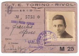TRAMVIA TRAMWAY  TORINO - RIVOLI  - TESSERA  - BIGLIETTI - TICKETS  - ABBONAMENTO 1943 - - Abbonamenti