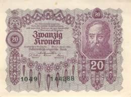 20 Kronen Banknote Österreich-Ungarn 1922 - Austria