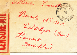 601/28 - CENSURE MILITAIRE BELGE - Bande Bicolore Encadrée Sur Lettre PMB 1915 Vers Un Prisonnier à HANNOVER - Kriegsgefangenschaft