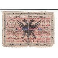 ALBANIE - 1 FRANC NOIR ET BRUN OR 1917  B - Albanie