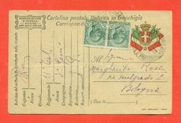 FRANCHIGIE MILITARI-PER BOLOGNA - PIEGHE - 1900-44 Vittorio Emanuele III