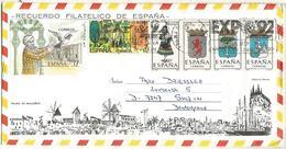 SOBRE TURISTICO PALMA MALLORCA PALOMA ESCUDOS ARMS FUEGO FIRE TRAJE LEON MAT EXPO 92 - 1981-90 Cartas