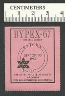 B54-07 CANADA 1967 BYPEX-67 Ottawa Philatelic Exhibition 1a Pink MNH - Local, Strike, Seals & Cinderellas
